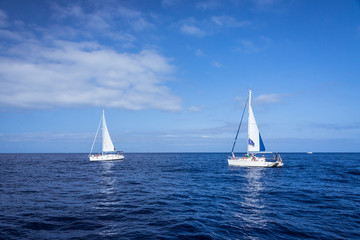 Two boats in mediterranean sea