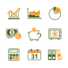 Finance simple vector icon set