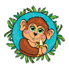 Funny monkey with a banana in her hand. In the frame of leaves.