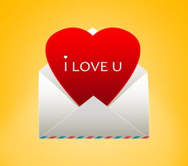 Envelope with a heart for Valentine's day.