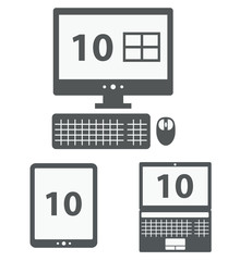 personal computer, laptop and tablet pc shows number 10