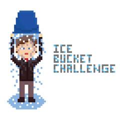 pixel art drawn businessman doing Ice Bucket Challenge.