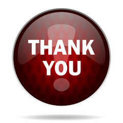 thank you red glossy web icon on white background.