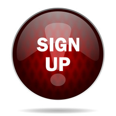 sign up red glossy web icon on white background.