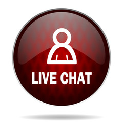live chat red glossy web icon on white background.