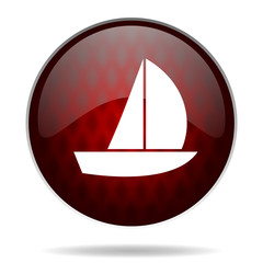 yacht red glossy web icon on white background.