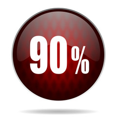 90 percent red glossy web icon on white background.