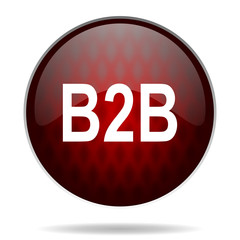 b2b red glossy web icon on white background.