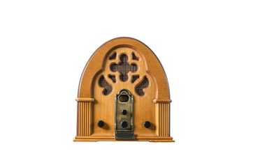 Vintage classic old wooden radio message concept