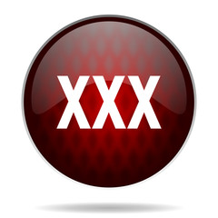 xxx red glossy web icon on white background.