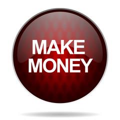 make money red glossy web icon on white background.
