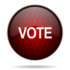 vote red glossy web icon on white background.