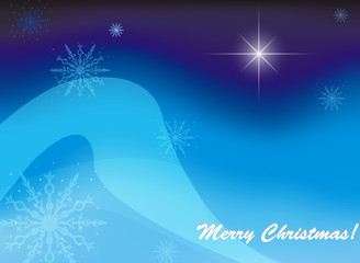 Christmas blue background and text