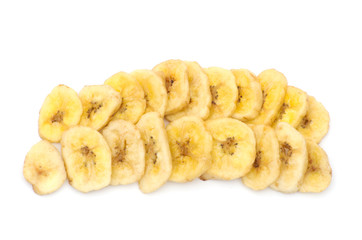 a pile of banana chips on white background