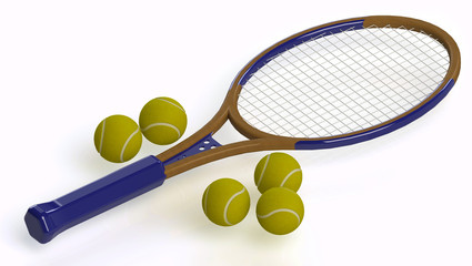Tennisbalsl and racket