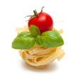 Pasta, basil and tomato