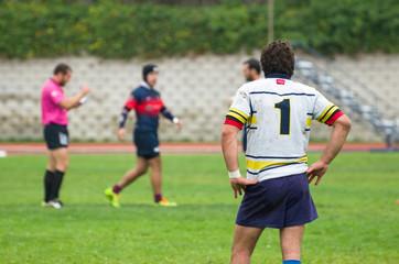 Durante el partido de rugby