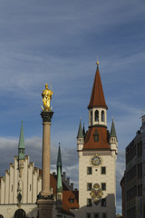 Column of St Mary and Zodiac Clock Tower, Munich.
