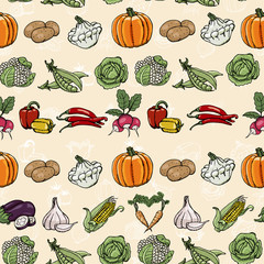 Seamless horizontal pattern with colored vegetables