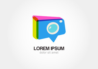 Abstract colorful photo camera. Stylized waypoint. Vector logo i
