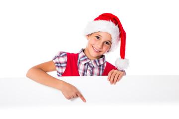 Girl in Santa hat with whiteboard