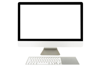 Computer display with blank screen and wireless keyboard
