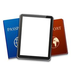 vector modern computer tablet with passport