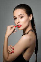 Portrait of young beautiful brunet woman
