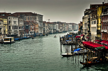 Grand Canal of Venice with Dark Grey Sky