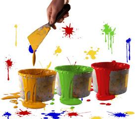 Barattoli inchiostro con mano