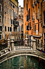 Beautiful View of Canal with Bridge and Houses in Venice