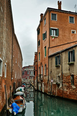 Beautiful View of Canal with Boats in Venice
