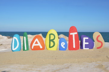 Diabetes, conceptual on colored stones