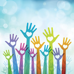 Charity background with hands