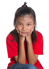 Young Asian girl with face expression over white background