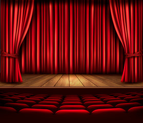 A theater stage with a red curtain, seats and a spotlight. Vecto