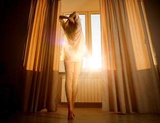 Woman in the morning. Attractive sexy woman by the sunny window