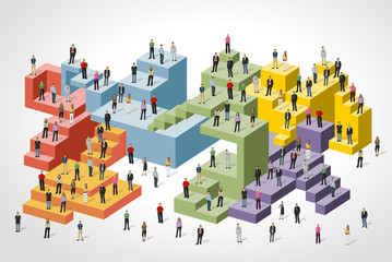 Business people over colorful blocks