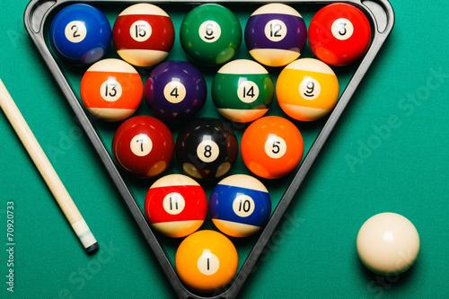 Staande foto Billiard balls in a pool table.