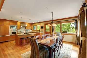 Large kitchen room with elegant dining table set