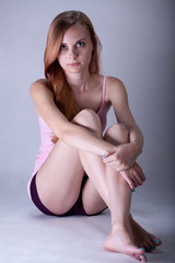 Portrait of a young sad woman