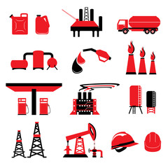Set of Oil and Gas power energy vectors and icons
