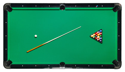 Isolated billiard table, top view.