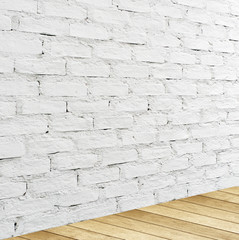 White brick wall and wood floor, empty perspective room.
