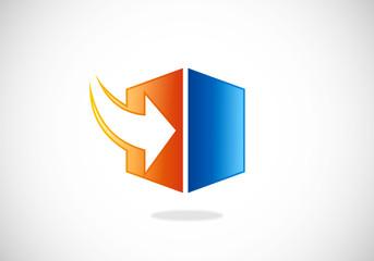 storage arrow download cube vector logo