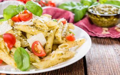 Fresh made Penne with Basil Pesto