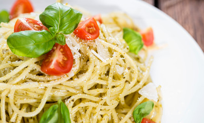 Portion of Spaghetti with Pesto