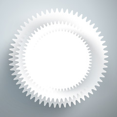 White gear icon with place for your text. Vector illustration