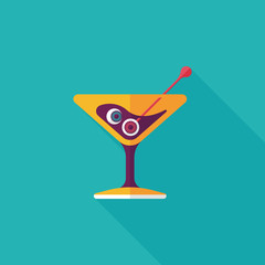 Halloween cocktail flat icon with long shadow,eps10