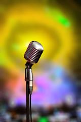 Stylish retro microphone on dance club interior. Bulgaria